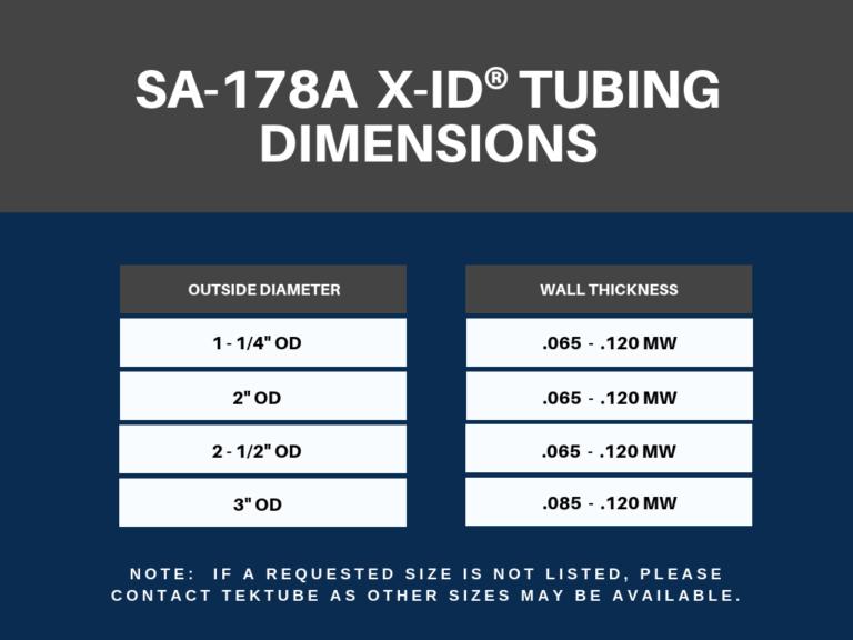 SA-178A X-ID® TUBING DIMENSIONS